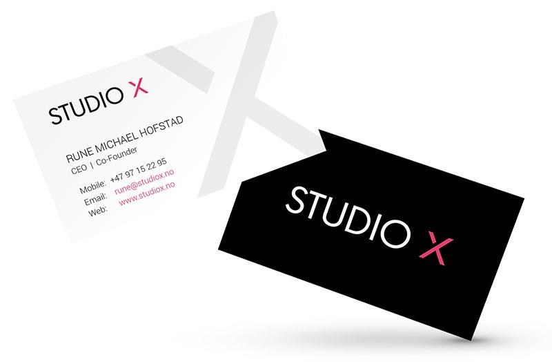 Design av visittkort - Studio X i Sarpsborg
